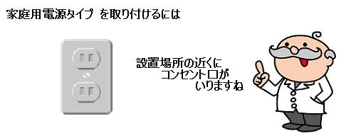 家庭用AC100V電源タイプを取り付けるには設置場所近くにコンセント口が必要
