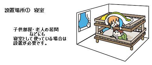 寝室に火災警報器を設置